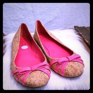 Kate Spade cork material pink  bow flats